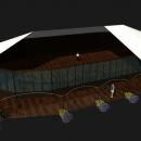 Тентовый павильон архитектурного исполнения Тортуга. Разрез и конструктивный принцип тентовой кровли.