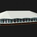 Тентовый павильон архитектурного исполнения Тортуга. Вариант с тентовыми стенками и стойками оттяжками по периметру.