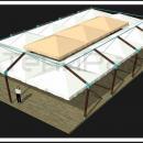 Укрытие площадки летнего кафе уличными большими зонтами с элементами усиления и скрепления в единую конструктивную схему.