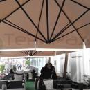 Уличные зонты для летних кафе и веранд. Тентовый купол зонта для улицы на основе ПВХ материала - надежное и долговечное покрытие с многолетним ресурсом эксплуатации и возможностью полноцветного нанесения. Не протекает, не капает, надежно сохраняется в течение зимнего сезона.