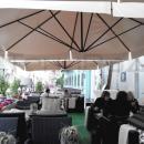 Уличные зонты для летнего кафе могут выполняться различной высоты по желанию заказчика.