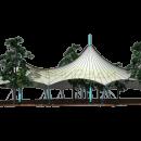 Эскиз тентовой конструкции шатрового типа для проекта укрытия ресторана в г. Видное, 2014. Компания