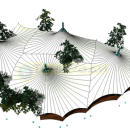Эскиз тентовой конструкции шатрового типа для проекта укрытия ресторана в г. Видное, вид сверху на деревья внутри периметра оболочки, 2014. Компания