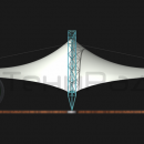 Вид на мембранную конструкцию фасадный.