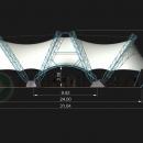 Мембранная конструкция Цингулата с внешними опорными пространственными фермами