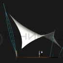 Мембранная конструкция Скат. Наклонная доминантная мачта на основе пространственной фермы имеет высоту более 14м